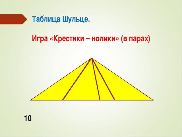 Таблица Шульце. Игра «Крестики – нолики» (в парах) 10
