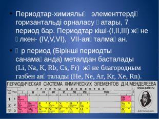 Периодтар-химиялық элементтердің горизантальді орналасу қатары, 7 период бар.