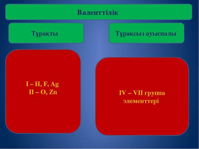 Валенттілік Тұрақты Тұрақсыз ауыспалы I – H, F, Ag II – O, Zn IV – VII группа...