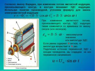 Согласно закону Фарадея, при изменении потока магнитной индукции, пронизывающ
