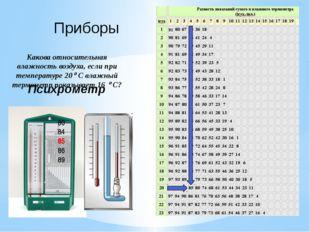 Приборы Какова относительная влажность воздуха, если при температуре 20 С вл