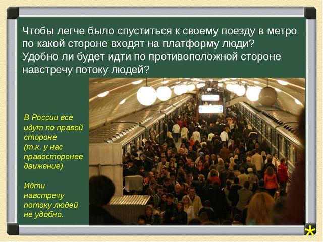 Чтобы легче было спуститься к своему поезду в метро по какой стороне входят н...