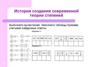 * История создания современной теории степеней Выполните вычисления. Заполнит
