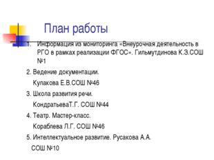 План работы Информация из мониторинга «Внеурочная деятельность в РГО в рамка