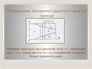 Распределение электронного дырочного тока в n-p-переходе Изменение токов вдол
