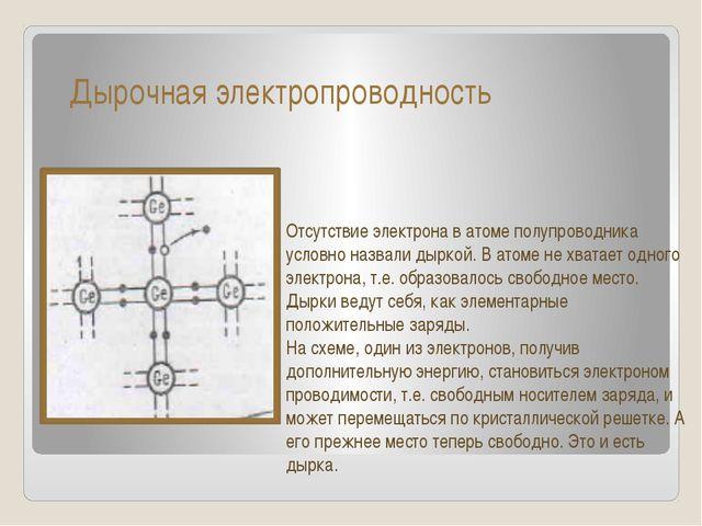 Дырочная электропроводность Отсутствие электрона в атоме полупроводника усло...