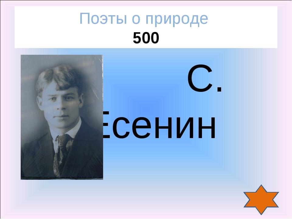 Поэты о природе 500 С. Есенин