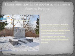 Памятник жителям посёлка, павшим в боях за Родину Поселок Совхозный расположе