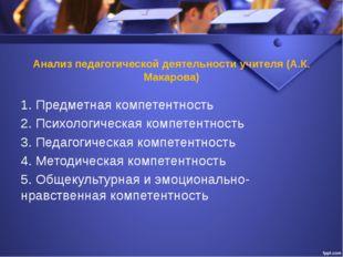 Анализ педагогической деятельности учителя (А.К. Макарова) 1. Предметная комп