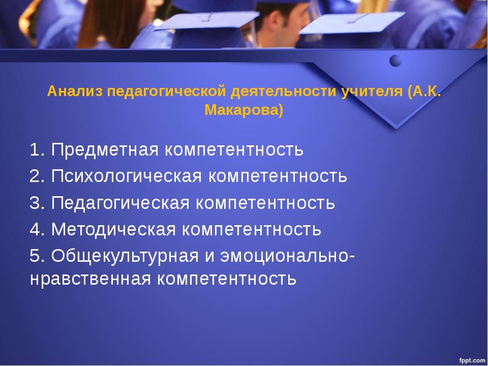 Анализ педагогической деятельности учителя (А.К. Макарова) 1. Предметная комп...
