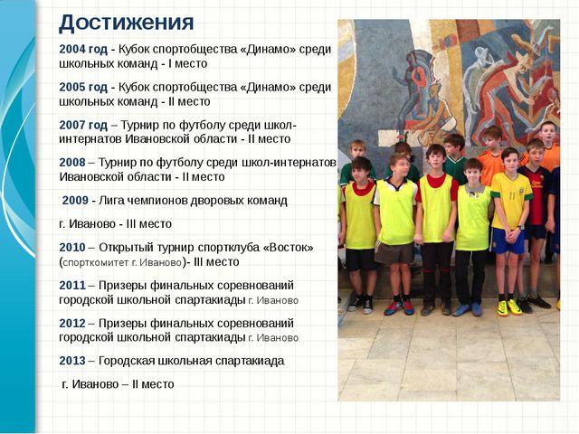 2004 год - Кубок спортобщества «Динамо» среди школьных команд - I место 2005...
