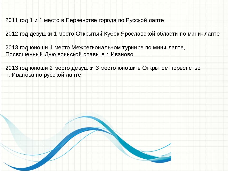 2011 год 1 и 1 место в Первенстве города по Русской лапте 2012 год девушки 1...