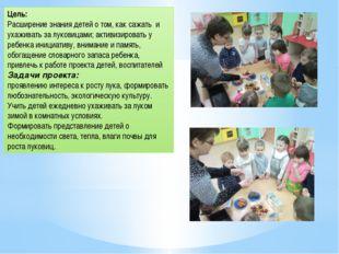 Цель: Расширение знания детей о том, как сажать и ухаживать за луковицами; ак