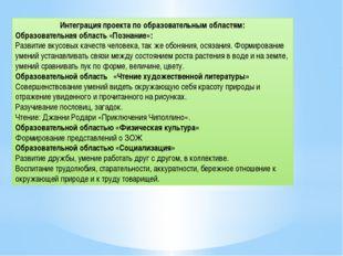 Интеграция проекта по образовательным областям: Образовательная область «Позн
