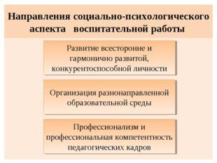 Направления социально-психологического аспекта воспитательной работы Развитие