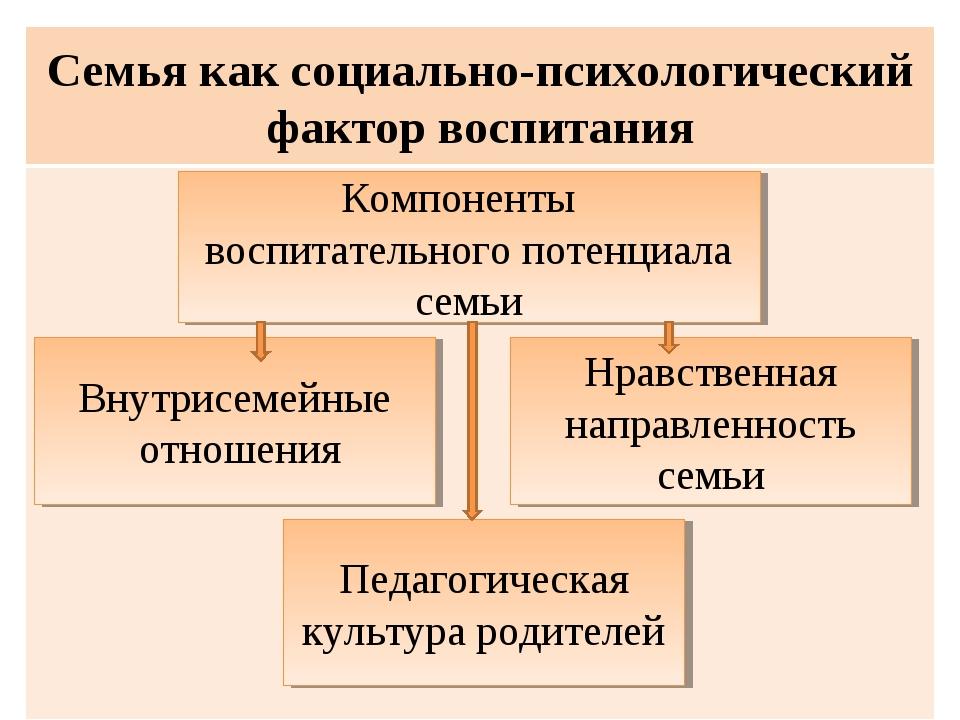 Семья как социально-психологический фактор воспитания  Педагогическая культу...