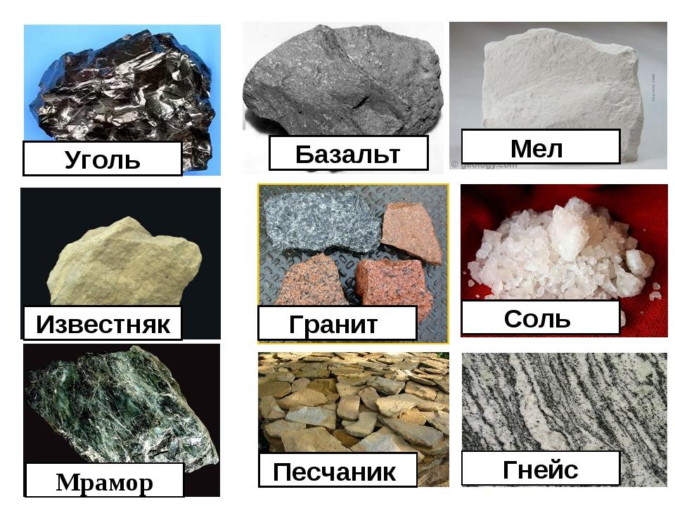 Уголь Базальт Мел Известняк Гранит Соль Мрамор Песчаник Гнейс