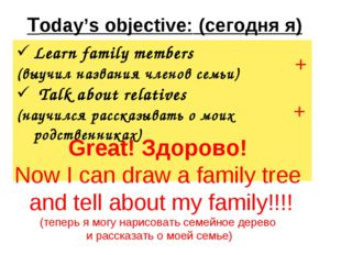 Today's objective: (сегодня я) + + Great! Здорово! Now I can draw a family t