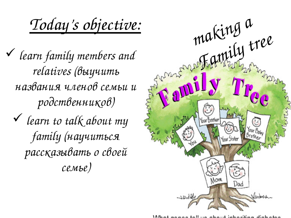 Today's objective: learn family members and relatives (выучить названия члено...