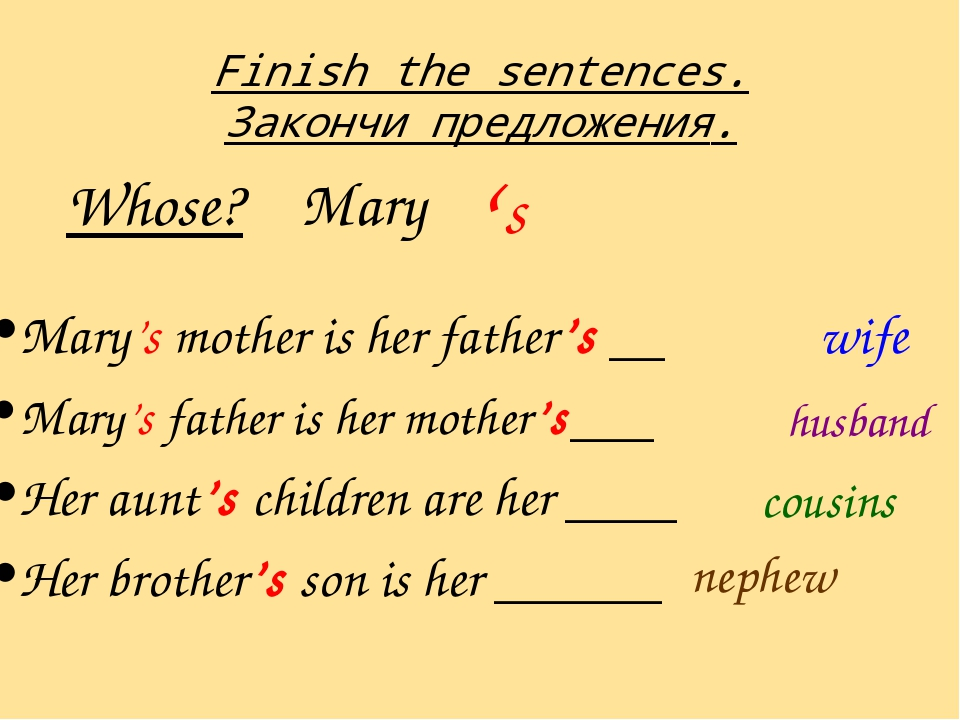 Finish the sentences. Закончи предложения. Mary's mother is her father's __ M...
