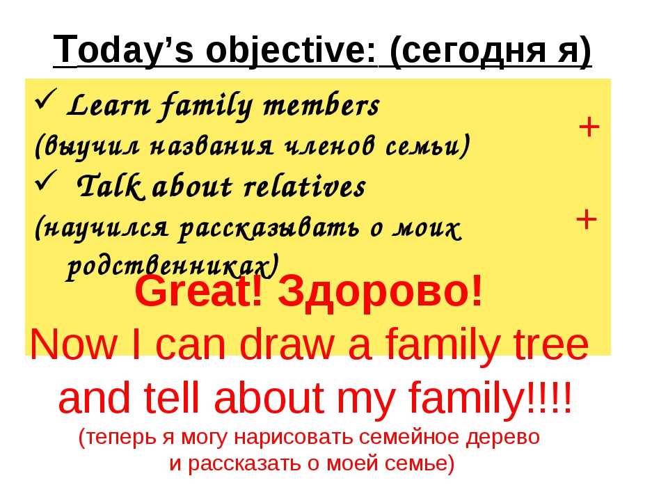 Today's objective: (сегодня я) + + Great! Здорово! Now I can draw a family t...