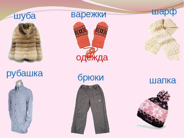 рубашка шуба варежки шарф брюки шапка одежда