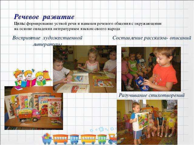 Речевое развитие Цель: формирование устной речи и навыков речевого общения с...