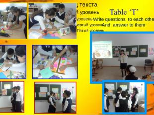 Table 'T' Write questions to each other And answer to them
