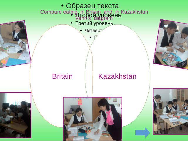 Compare eating in Britain and in Kazakhstan Venn's diagram Britain Kazakhstan