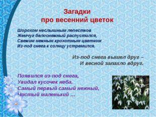 Загадки про весенний цветок Шорохом неслышным лепестков Жемчуг белоснежный ра