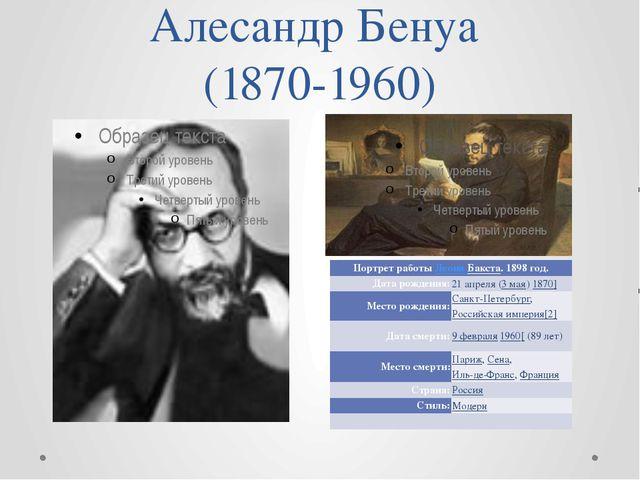 Алесандр Бенуа (1870-1960) Портрет работыЛеонаБакста. 1898 год. Дата рождения...
