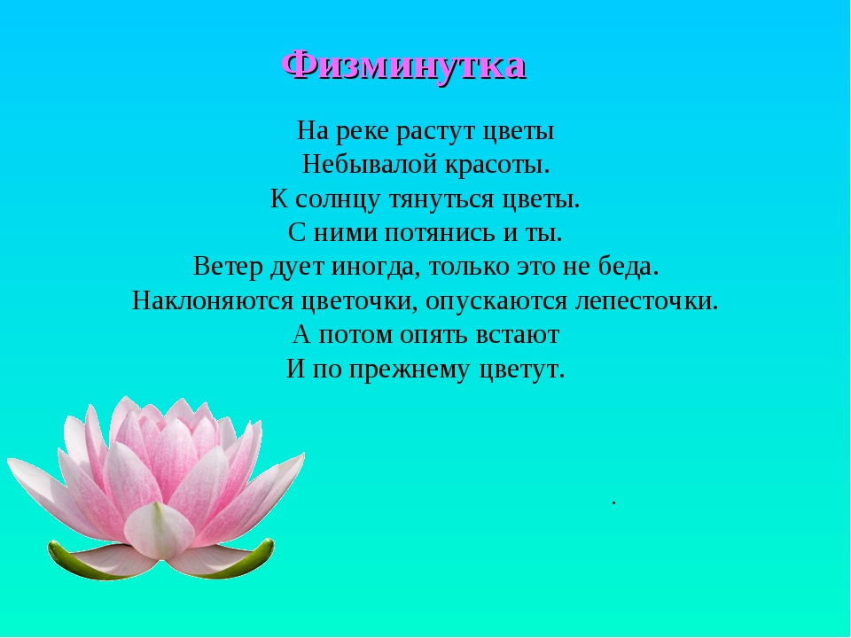 Физминутка . На реке растут цветы Небывалой красоты. К солнцу тянуться цветы....