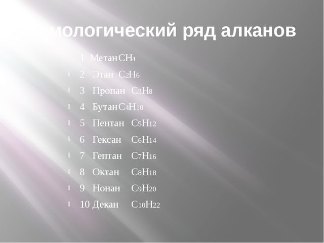 Гомологический ряд алканов 1 МетанСН4 2 Этан С2Н6 3 Пропан С3Н8 4 Б...