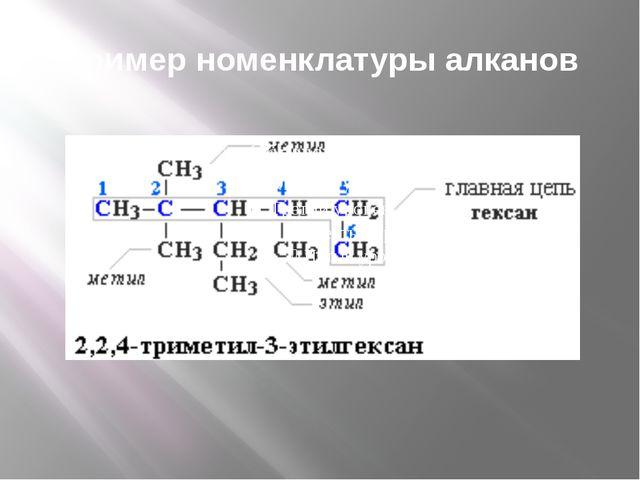 Пример номенклатуры алканов