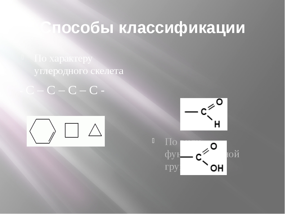 Способы классификации По характеру углеродного скелета - C – C – C – C - По в...