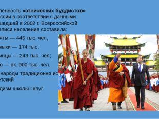 Численность «этнических буддистов» в России в соответствии с данными прошедше