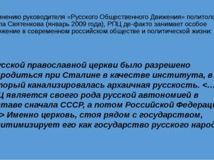 По мнению руководителя «Русского Общественного Движения» политолога Павла Свя