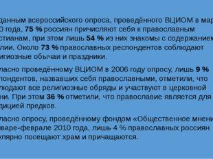 По данным всероссийского опроса, проведённого ВЦИОМ в марте 2010 года, 75 % р