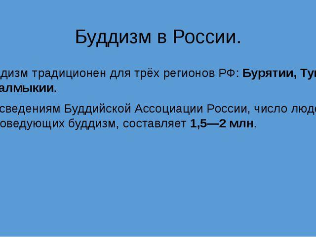 Буддизм в России. Буддизм традиционен для трёх регионов РФ: Бурятии, Тувы и К...