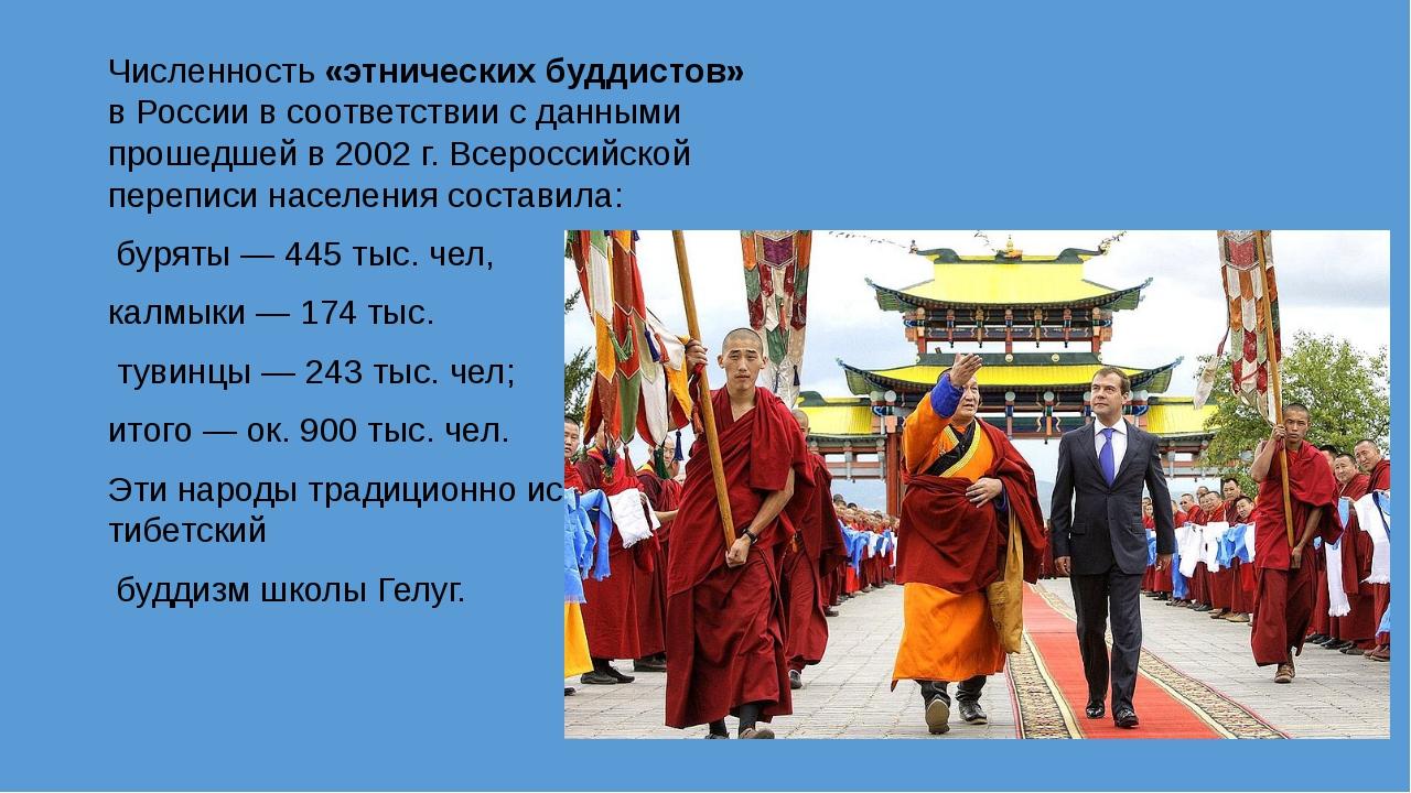 Численность «этнических буддистов» в России в соответствии с данными прошедше...