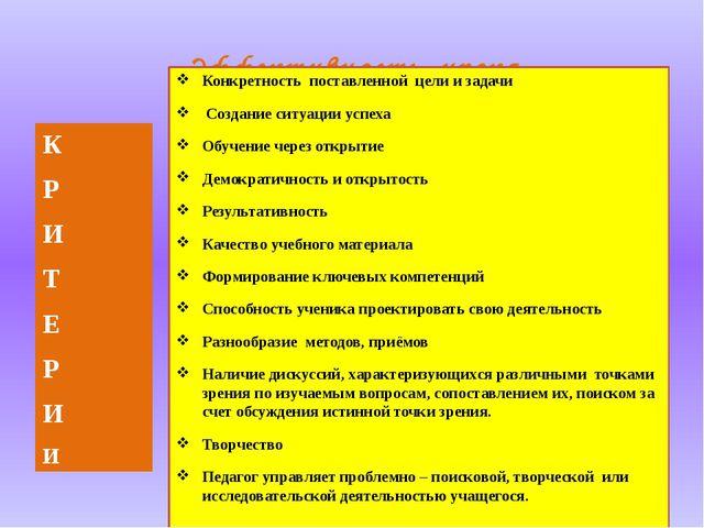 Эффективность урока Конкретность поставленной цели и задачи Создание ситуации...