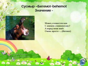 Сусиыр –Бегемот-behemot Значение - Этот толстый бегемот Под водой легко плывё