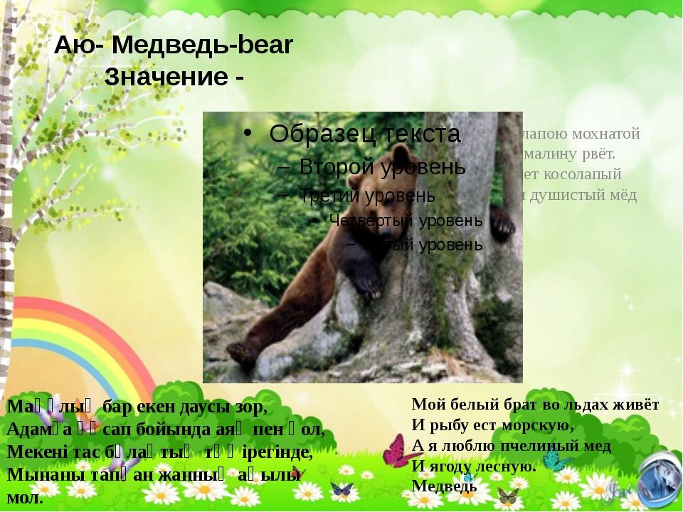 Аю- Медведь-bear Значение - Медведь лапою мохнатой Не спеша малину рвёт. Ходи...