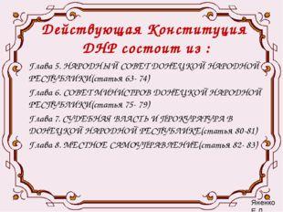 Действующая Конституция ДНР состоит из : Глава 5. НАРОДНЫЙ СОВЕТ ДОНЕЦКОЙ НАР