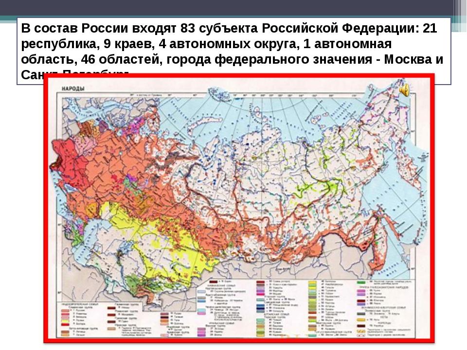 В состав России входят 83 субъекта Российской Федерации: 21 республика, 9 кра...