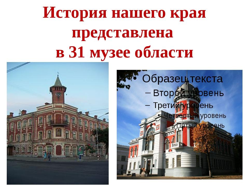 История нашего края представлена в 31 музее области