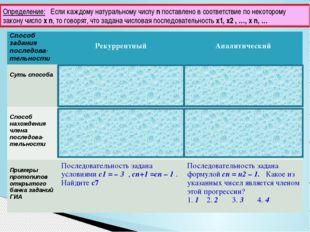 Определение: Если каждому натуральному числу n поставлено в соответствие по н