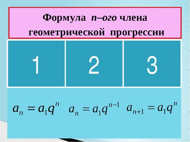 Формула n–ого члена геометрической прогрессии 1 2 3