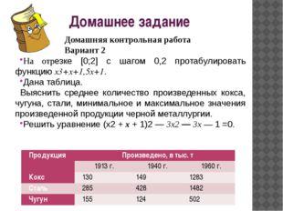 Домашняя контрольная работа Вариант 2 На отрезке [0;2] с шагом 0,2 протабули