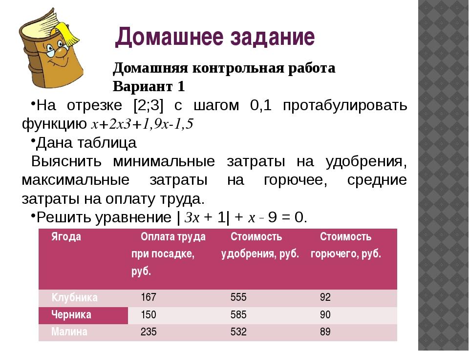 Домашнее задание Домашняя контрольная работа Вариант 1 На отрезке [2;3] с шаг...